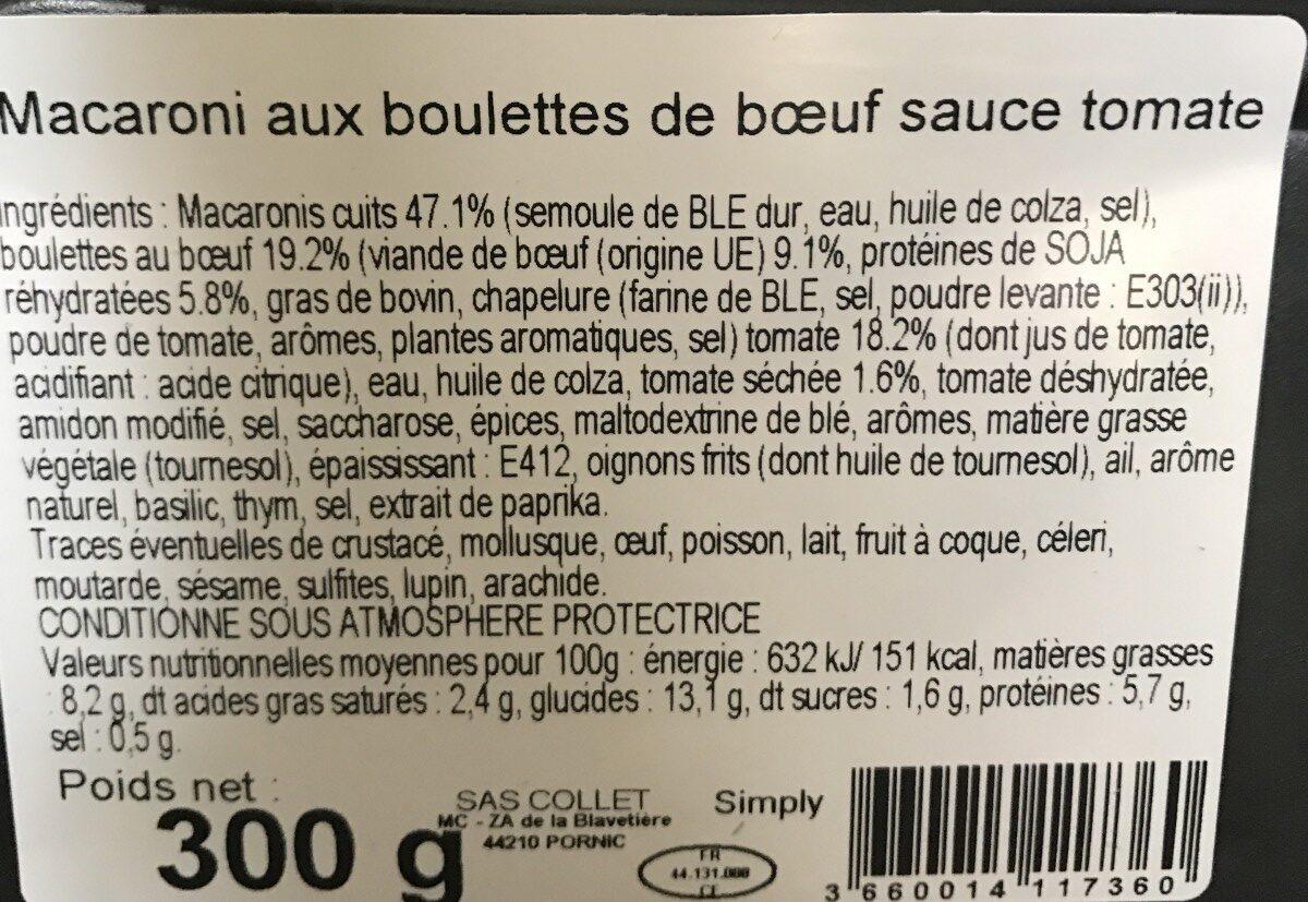Macaroni aux Boulettes de Bœuf sauce Tomate - Ingrédients