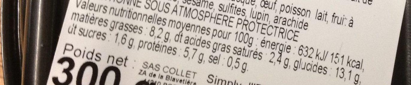 Macaroni aux Boulettes de Bœuf sauce Tomate - Informations nutritionnelles