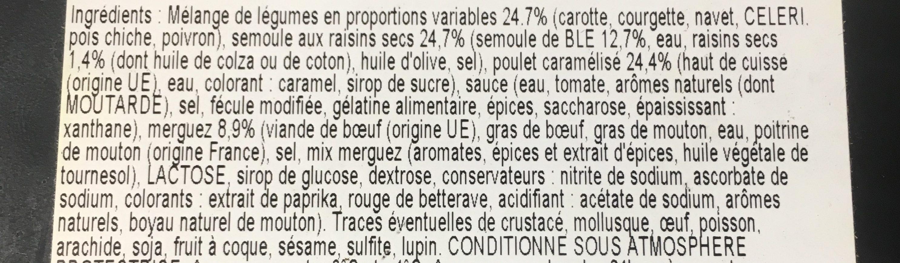Couscous viande et semoule - Ingrédients - fr