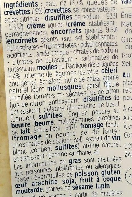 Risotto aux Fruits de Mer - Ingrédients - fr
