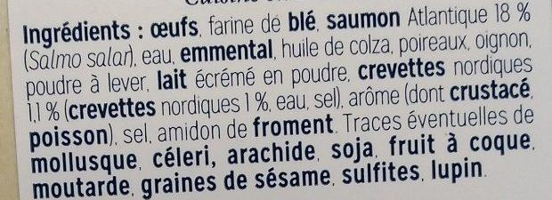 Cake au saumon et aux crevettes nordiques - Ingrédients - fr
