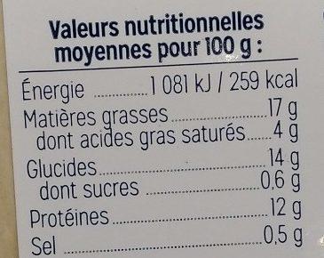 Cake au saumon et aux crevettes nordiques - Informations nutritionnelles - fr