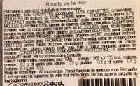 Risotto de la mee - Informations nutritionnelles - fr