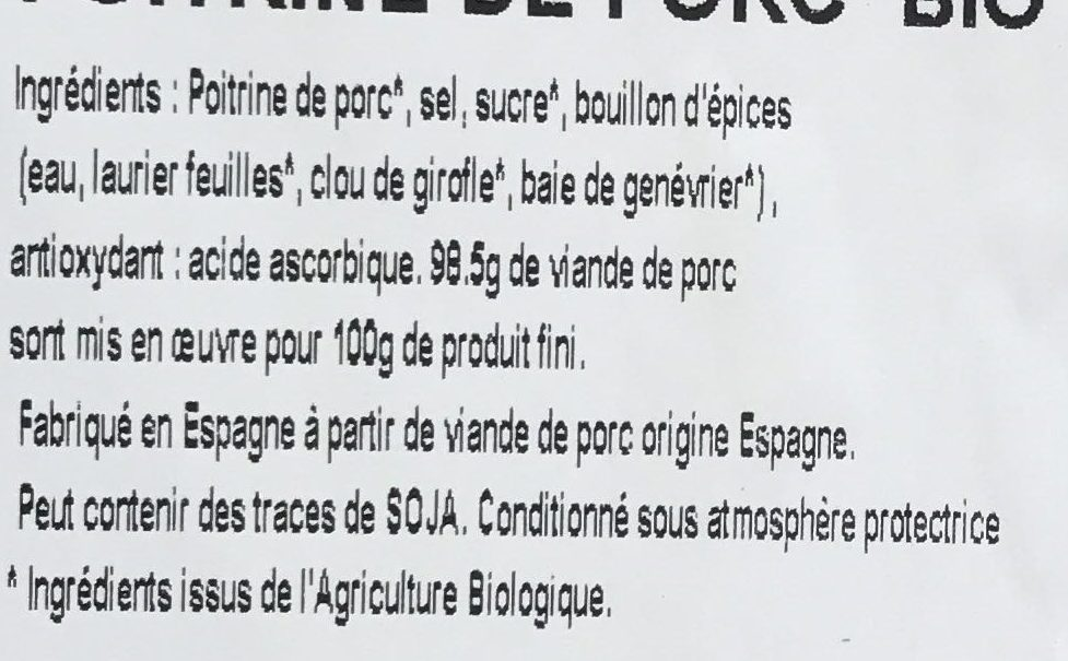 Poitrine de porc bio - Ingrédients - fr