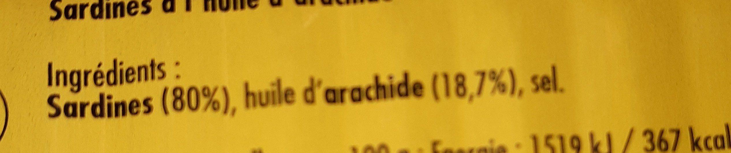 Sardine à l'huile d'arachide - Ingredienti - fr