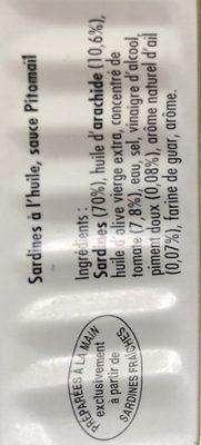 Sardines à l'huile sauce Pitomaïl - Ingrédients