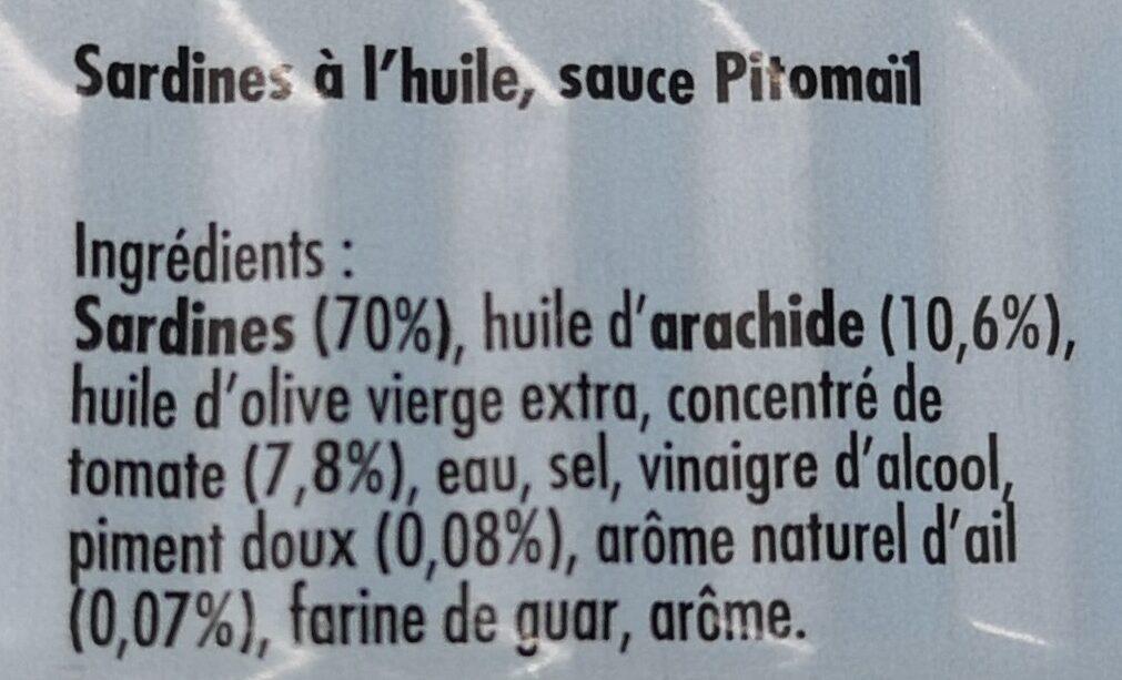 Sardines à l'huile, sauce Pitomaïl - Ingredients - fr