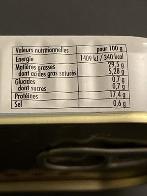 Sardines à l'huile, sauce Pitomaïl - Nutrition facts - fr