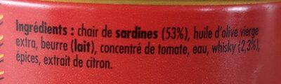 Crème de sardine au whisky - Ingredients - fr