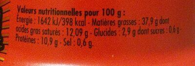 Crème de sardine au whisky - Nutrition facts - fr