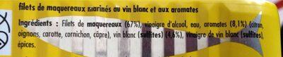 Filets de maquereaux marinés au vins blanc et aux aromates - Ingrediënten