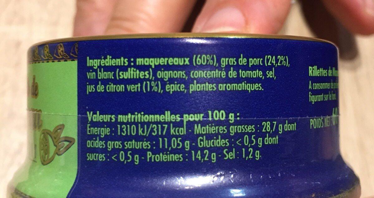 Rillettes de maquereau au citron vert - Ingrediënten - fr