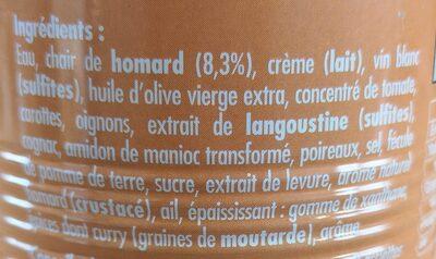 Bisque de homard - Ingrediënten - fr