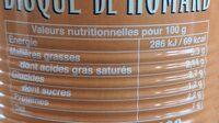 Bisque de homard - Voedingswaarden - fr