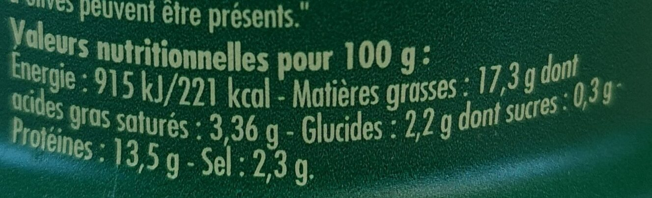 Thoïonade - Informations nutritionnelles - fr