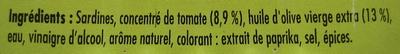 Sardines à la tomate et à l'huile d'olive vierge - Ingrédients