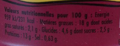Emietté de thon zanzibar (pruneaux et épices) - Informations nutritionnelles