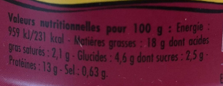 Emietté de thon aux pruneaux et épices - Informations nutritionnelles - fr