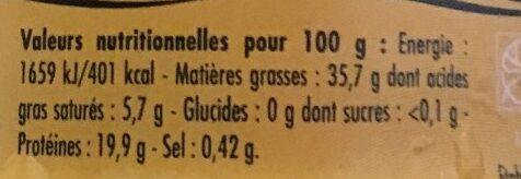 Emietté de thon a l'huile d'olive vierge extra - Voedingswaarden