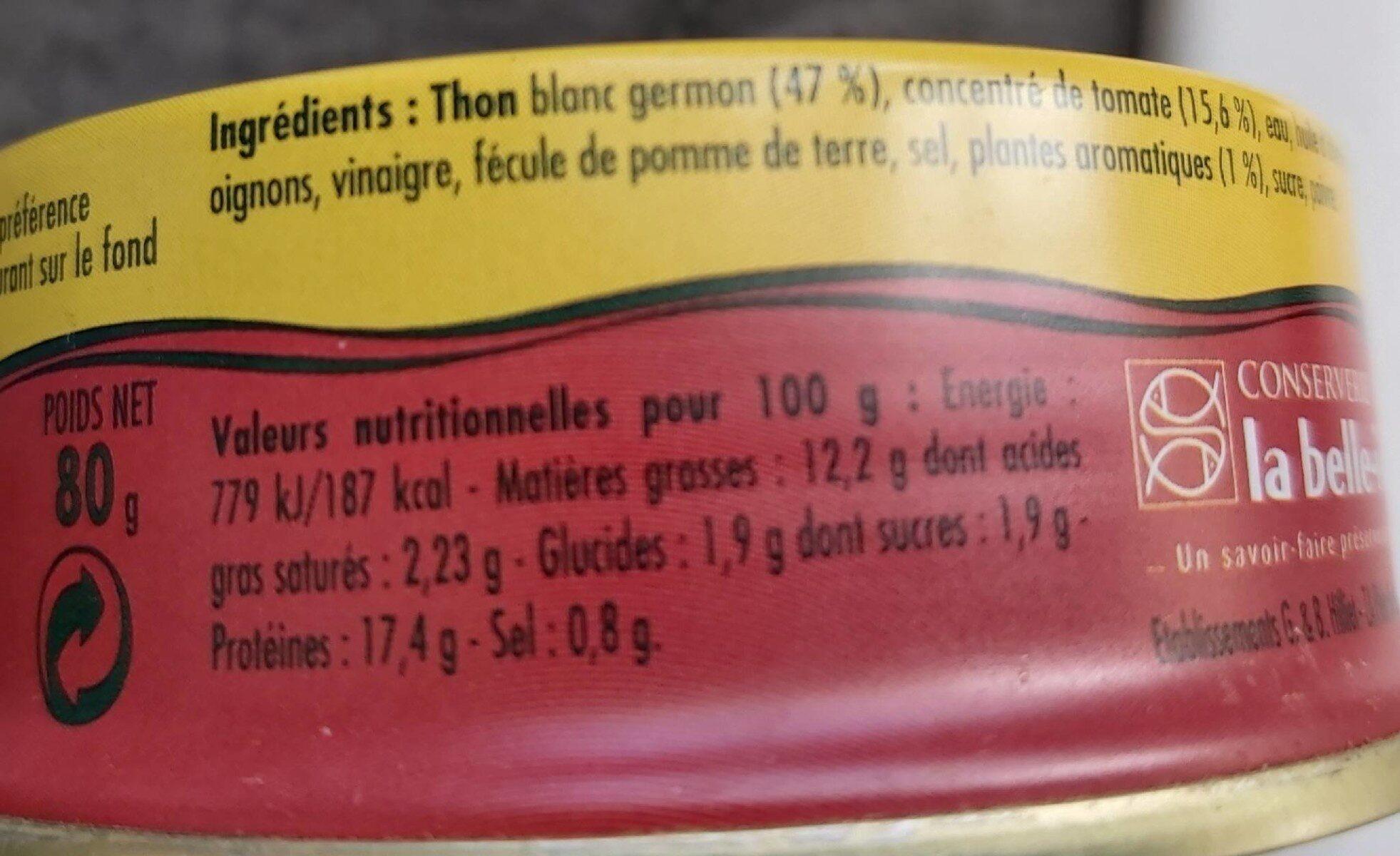 Émietté de thon à la tomate - Voedingswaarden - fr