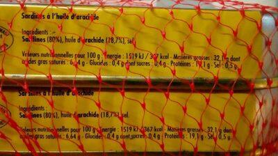 Sardines à l'huile d'arachide - Ingredienti - fr