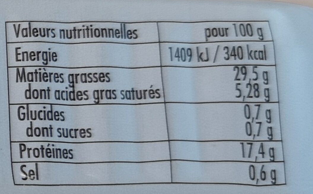 Sardines sauce Pitomail - Nutrition facts
