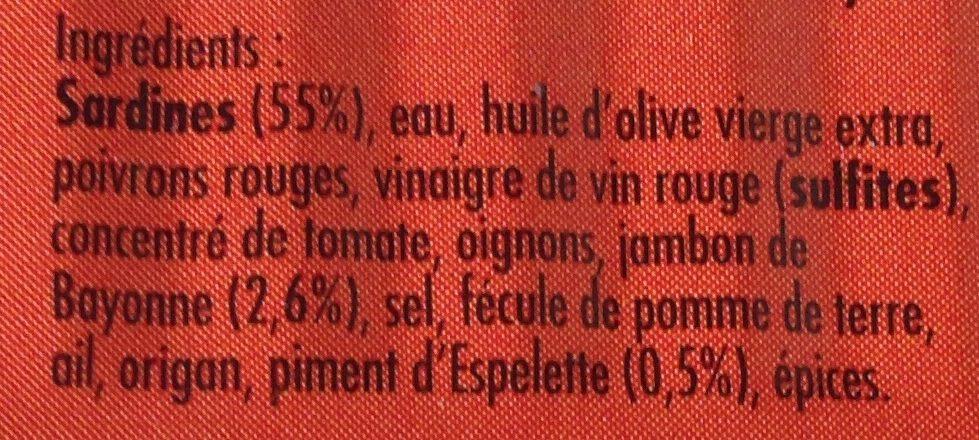 Sardines a la luzienne - Ingrediënten - fr