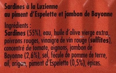 Sardines à la Luzienne - Ingredienti - fr