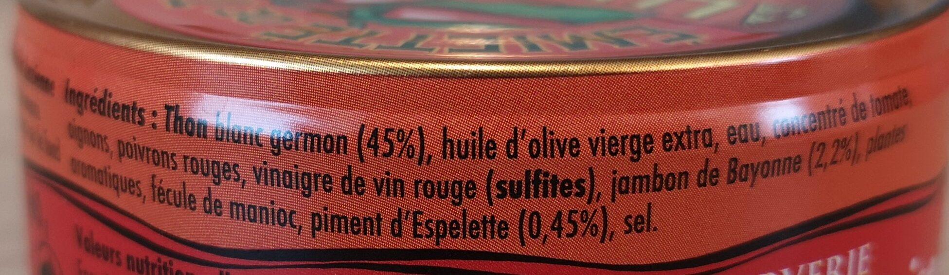 Emietté de thon à la Luzienne (Piment d'Espelette, jambon de Bayonne) - Ingrédients