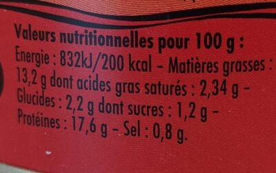 Emietté de thon à la Luzienne (Piment d'Espelette, jambon de Bayonne) - Informations nutritionnelles