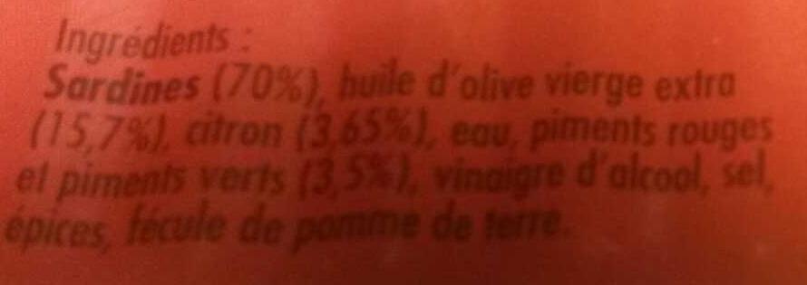 Sardines aux 2 piments, à l'huile d'olive vierge extra et sa note de citron - Ingrédients