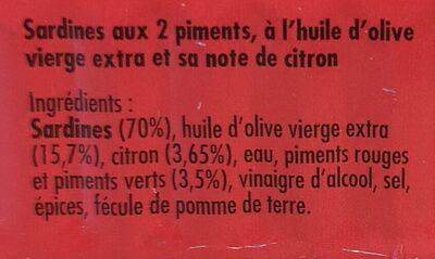 Sardines aux 2 piments, à l'huile d'olive et sa note de citron - Ingrediënten - fr