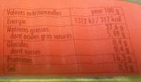 Sardines aux 2 piments, à l'huile d'olive vierge extra et sa note de citron - Informations nutritionnelles