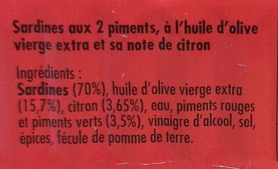 Sardines aux 2 piments, à l'huile d'olive et sa note de citron - Ingredients