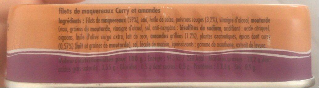 Filets de maquereaux cuisinés aux curry et amandes - Voedingswaarden - fr