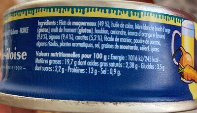 Emietté de maquereau à la bière blanche - Voedingswaarden - fr