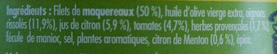 Emietté de maquereau aux herbes et au citron de Menton - Ingredients