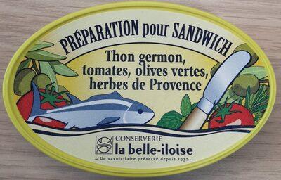 Préparation pour sandwich  Thon germon, tomates, olives vertes, herbes de Provence - Produit - fr