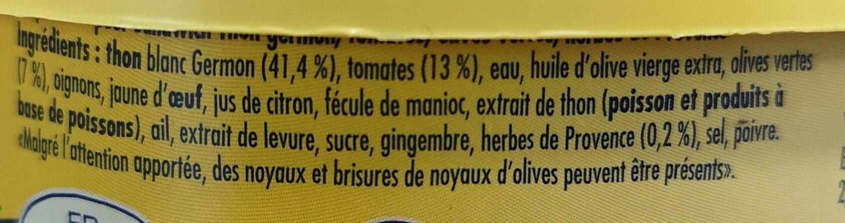 Préparation pour sandwich  Thon germon, tomates, olives vertes, herbes de Provence - Ingrédients - fr