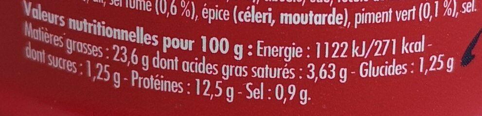Emietté de maquereau des Boucaniers - Nutrition facts