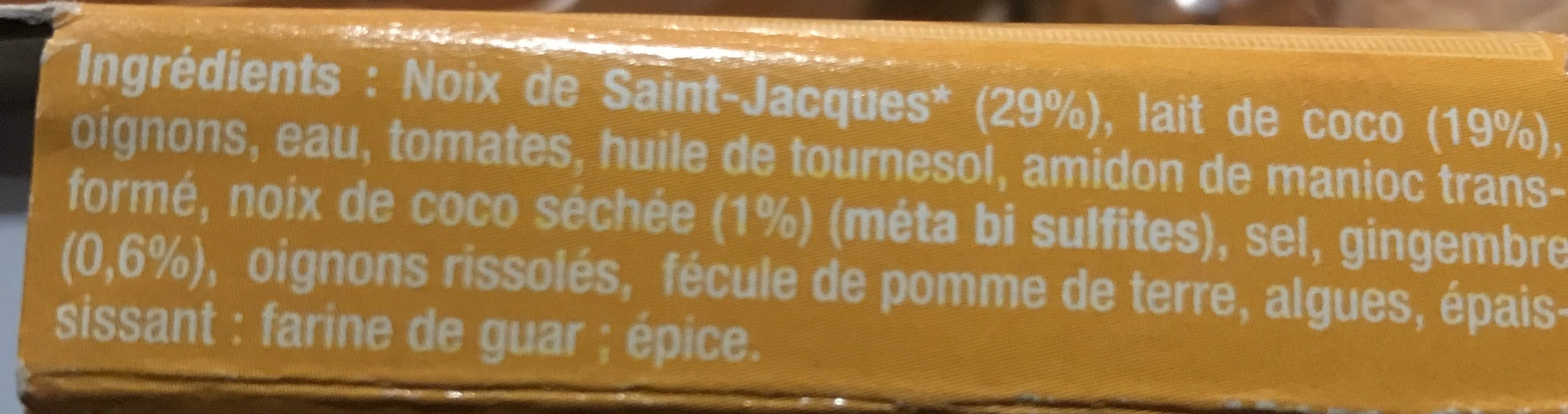 Petite marmite St-Jacques Coco et Gingembre - Ingredients