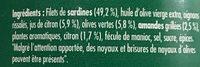 Emietté de Sardine Citron, Olives et Amandes - Ingrédients