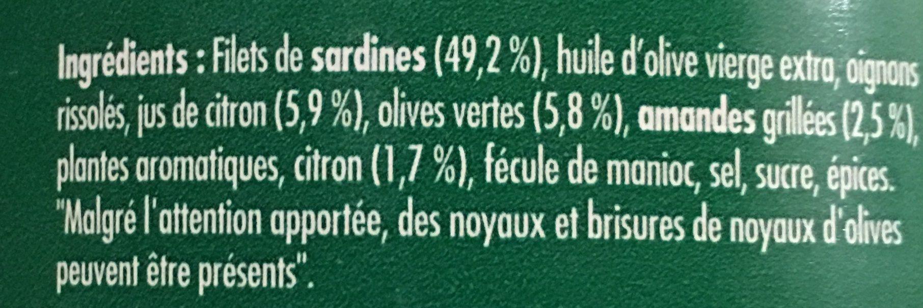 Emietté de sardine citron, olives et amandes - Ingredients