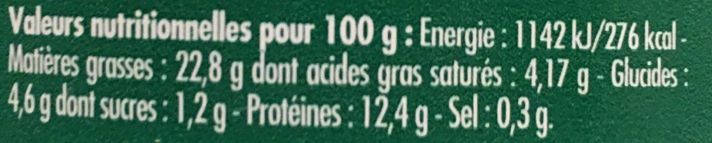 Emietté de Sardine Citron, Olives et Amandes - Informations nutritionnelles