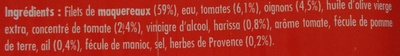 Filets de maquereaux herbes de Provence et épices Harissa - Ingrediënten