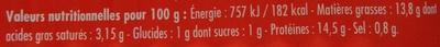 Filets de maquereaux herbes de Provence et épices Harissa - Voedigswaarden