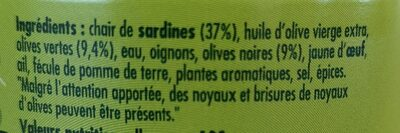 Sardinade aux 2 olives - Ingrédients