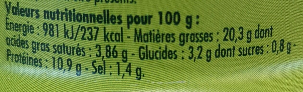 Sardinade aux 2 olives - Informations nutritionnelles