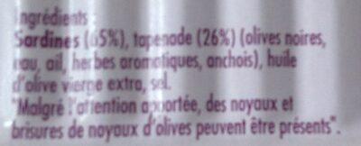 Sardines à la tapenade - Ingrediënten - fr