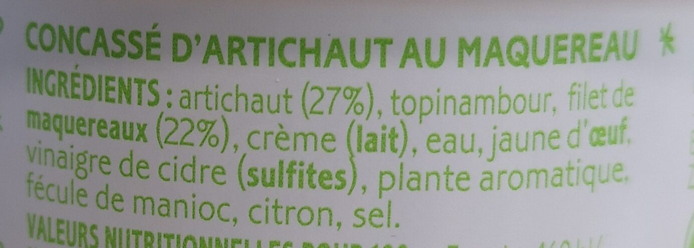 Cuillérable concassé d'artichaut au maquereau - Ingrédients